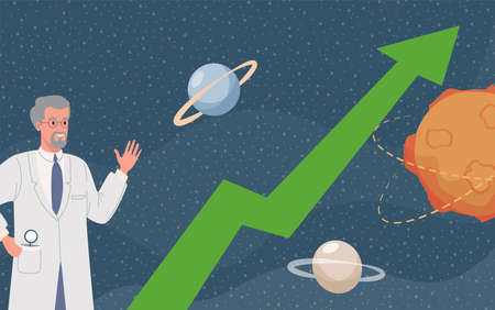 Scientist waving hand vector flat illustration. Space background with planets and stars, green arrow going up.