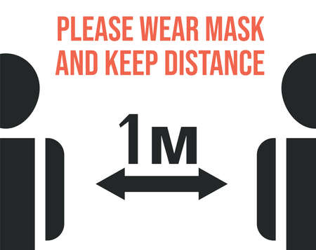 Please wear mask and keep safe social distance vector flat banner template. Maintain social distancing.