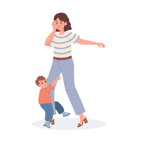 Mother with her son vector flat illustration isolated on white background. Tired mom, her little son demands attention.