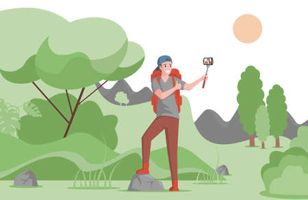 Tourist take picture or making video blog about traveling and camping in forest vector flat illustration.
