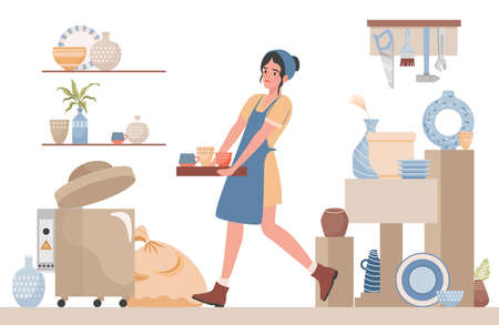 Woman clean pottery studio for pottery lessons vector flat illustration. Pottery workshop interior design. Vetores