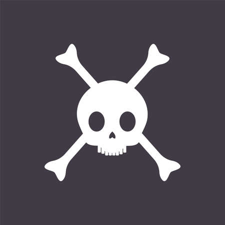Pirate skull with crossed bones vector flat illustration isolated on black background. Jolly Roger pirate symbol.