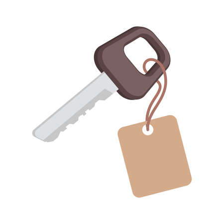Key with label vector flat illustration isolated on white background. Car, room, or house keys sign concept.
