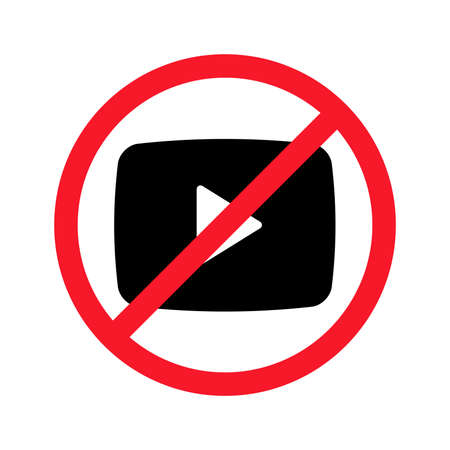 Video shooting is prohibited vector flat illustration isolated on white background. Play sign in crossed out red circle.