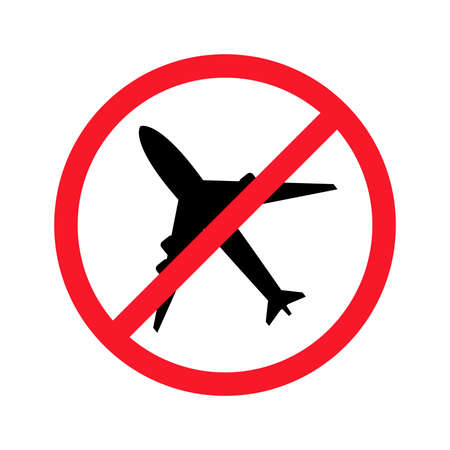 No aircraft vector flat illustration isolated on white background. Plane in crossed out circle.