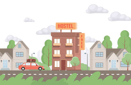 Red car driving up to hostel building vector flat illustration. Modern exterior of free hostel for tourists and travelers.