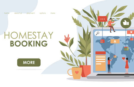 Homestay booking vector flat landing page template. People book hotel room and hostel in different countries. Ilustração