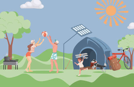 Happy smiling family spending time together outdoor at summer camping vector flat illustration.