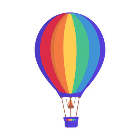 Hot air balloon with colorful rainbow stripes vector flat illustration isolated on white background. Ilustração