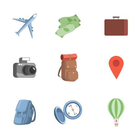 Set of traveling items vector flat illustration. Airplane, cash, briefcase, photo camera, travel backpack, geolocation point.