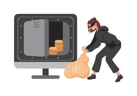 Thief woman stealing money from vault vector flat illustration. Robber or burglar character carrying bag.