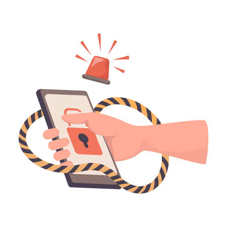 Hand holding hacked smartphone vector flat illustration. Hacker attack, phishing, stealing personal information.