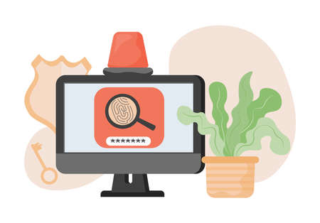 Computer screen protected by two factor authentication, password, and fingerprint scanner vector flat illustration. Ilustração