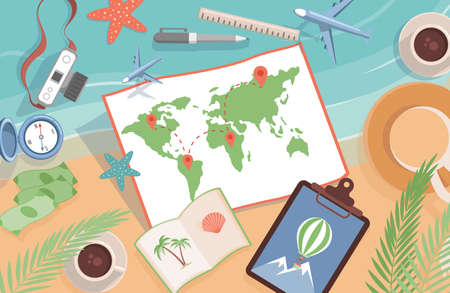 World map with location points and travel items vector flat illustration. Planning summer vacation, journey.
