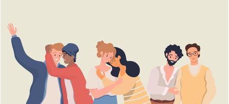 Homosexuality, romantic partners vector flat illustration. LGBT movement, homosexual men and women falling in love. Ilustração