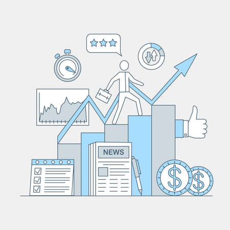 Business and investing application vector cartoon outline illustration. Career and financial success.