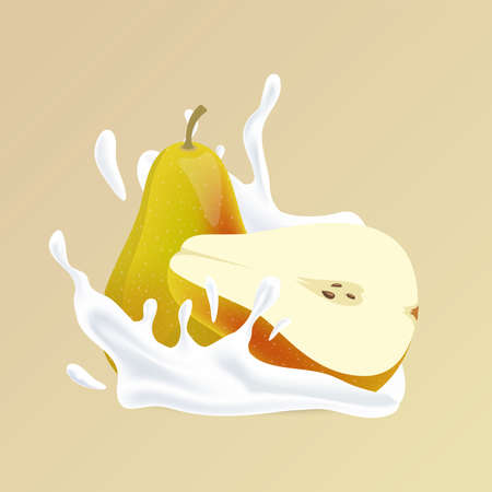 Pear and splash of white liquid cartoon illustration. Natural cosmetic, yogurt or fruit and milk cocktail.