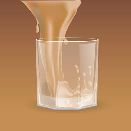 Beige beverage pouring into transparent glass for whiskey, scotch, bourbon vector cartoon illustration.