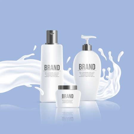 White plastic bottles with brand name and white liquid splash vector realistic illustration. Ilustração