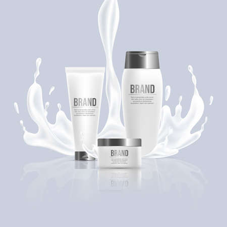 Cosmetic beauty products vector realistic design. Hand cream and body lotion packaging with splash of liquid.