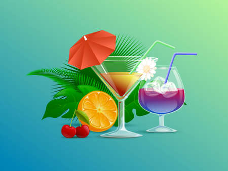Colorful summer cocktails decorated with straws, flowers, and cocktail umbrellas vector cartoon illustration.