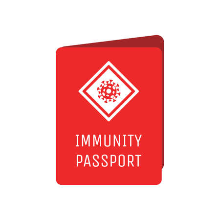 Red immunity passport cover vector flat template with sign of Coronavirus cell. Document with mark of immunity.