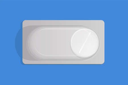 White pill in blister pack vector flat illustration. Medical pill in packaging, medicament to treat illness, pain, or viruses.