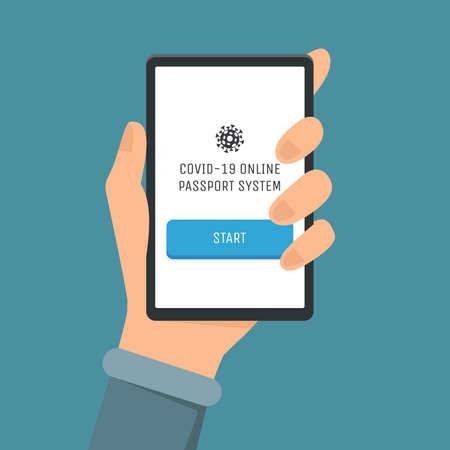 Covid-19 online passport system vector flat illustration. Hand holding smartphone with mark of immunity from Coronavirus.