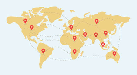 Earth map with location point marks vector flat illustration. World wide shipping, delivery, location, GPS navigation.