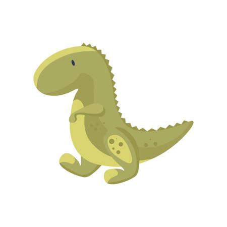 Cute baby dinosaur vector flat illustration isolated on white background. Green dino, prehistoric tyrannosaurus.