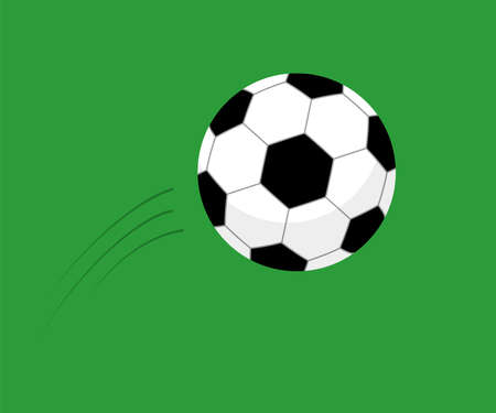 Flying soccer ball vector flat illustration isolated on green background. Ball for football for sport and competition.
