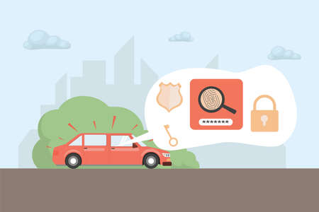 Riding car with security information vector flat illustration. Car alarm system with access levels, keys, password.