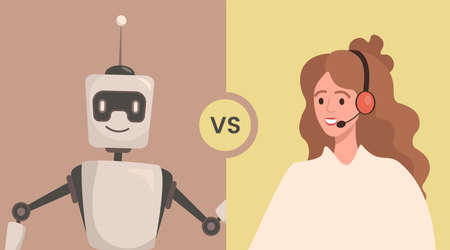 Robot versus woman vector flat illustration. People cooperate or confrontation with artificial Intelligence. Ilustração