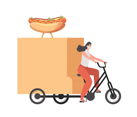 Delivery woman in medical face mask riding on bike and delivers hot dogs vector flat illustration. 矢量图像