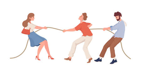 Men versus women vector flat illustration isolated on white background. Tug of gender war competition.