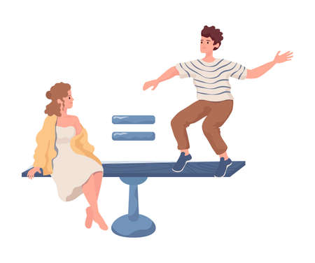 Woman sit and man stand on scales vector flat illustration isolated on white background. Gender equality, equal rights. Ilustração