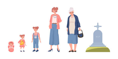 Cycle of woman life vector flat illustration isolated on white background. Female character growing up, aging and die.