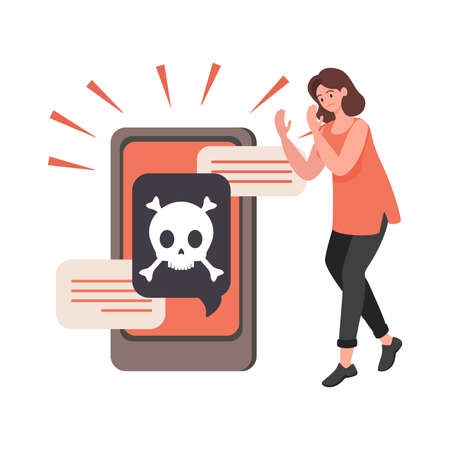 Young upset woman with hacked smartphone vector flat illustration. Cyber crime, internet fraud concept.