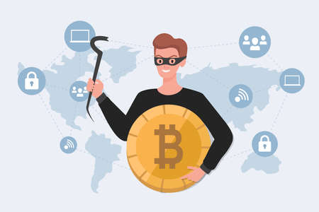 Thief in mask holding stolen bitcoin vector flat illustration. Cyber crime, financial robbery, hacker attack concept.