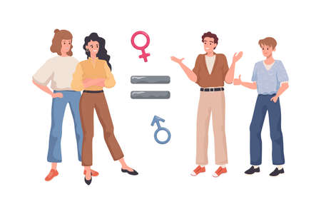Gender equality vector flat concept. Equal sign between happy smiling men and women. Equal rights for everyone.