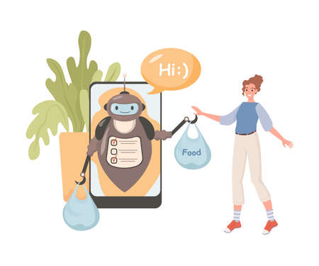 Robot delivering food from grocery shop vector flat illustration. Young woman makes online order. 矢量图像