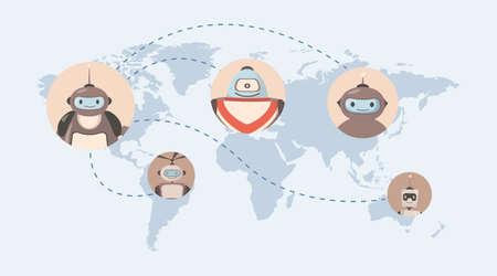 Robots around the world vector flat illustration. Map with robot avatars. Future technologies, artificial intelligence.