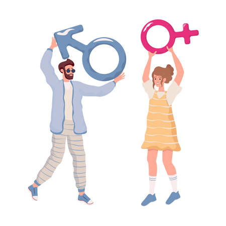 Happy young man and woman in casual clothes holding male and female signs vector flat illustration. Ilustração