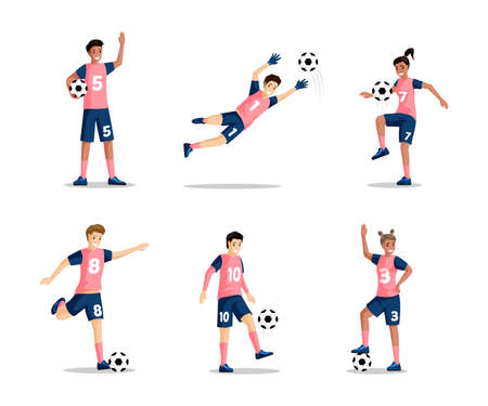 Happy smiling boys and girls playing football vector flat illustration isolated on white background.