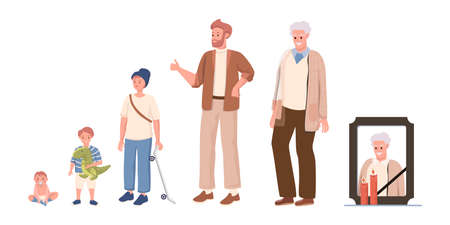 Cycle of man life vector flat illustration isolated on white background. Male character growing up, aging, and die.