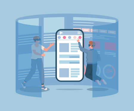 Two young male characters in VR glasses touching smartphone screen vector flat illustration.