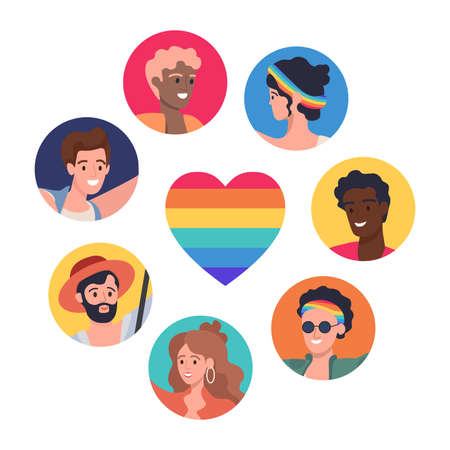 LGBTQ poster vector flat concept. Lesbian, gay, bisexual, transgender, and queer people pride parade.