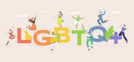 LGBTQ word vector flat banner template. Lesbian, gay, bisexual, transgender and queer people pride parade. 矢量图像