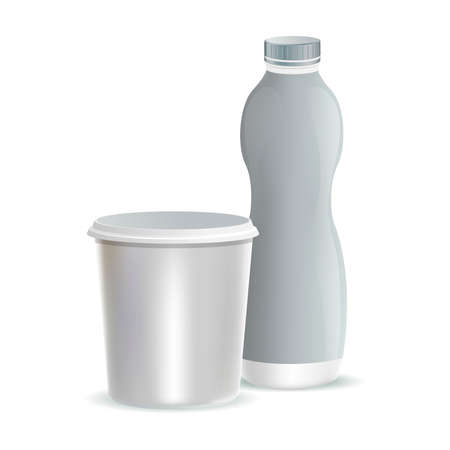 Two white plastic packaging for milk, yogurt, dessert, or cream vector realistic illustrations. Containers for yogurt.