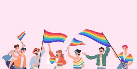 People taking part in LGBT pride vector flat illustration. Lesbian, gay, bisexual, transgender, and queer people.